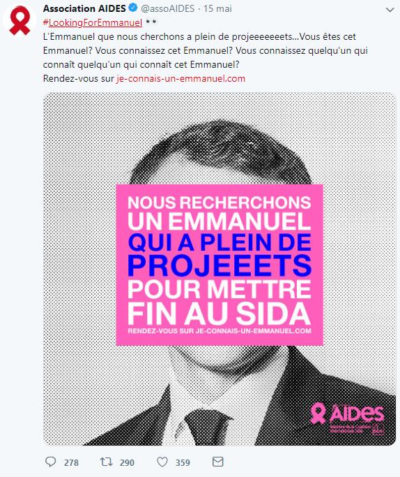 Reporting twitter de la campagne AIDES